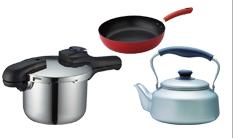 金属の鍋、ヤカン、フライパン